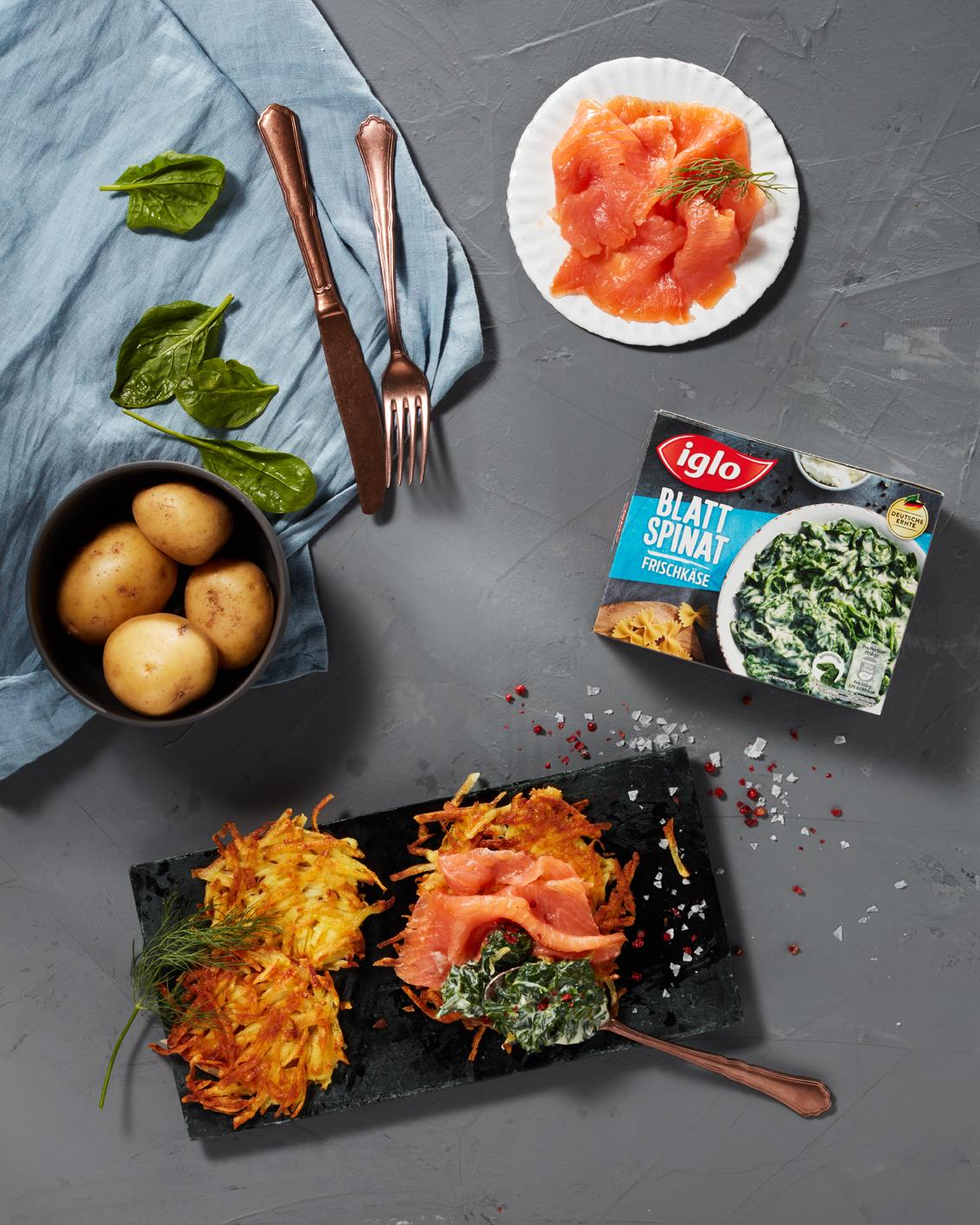 Food, Food-fotografie, Iglo, 3 Zutatenküche, Still-life, Hamburg, Christopher Shaw, Spinat, Lachs, Kartoffel, Rösti, Topshot